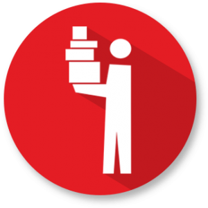 Man holding stacked boxes icon